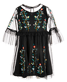 Blueberi Boulevard Little Girls Embroidered Mesh Dress
