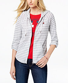 Tommy Hilfiger Sport Striped Roll-Tab Sleeve Hoodie, Created for Macy's