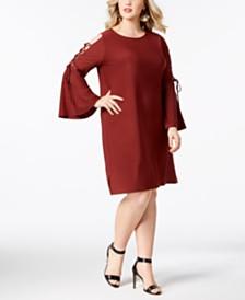 Love Scarlett Plus Size Lace-Up Sleeve Dress