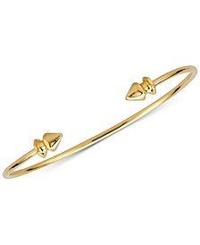 Polished Decorative Cuff Bangle Bracelet in 14K Gold-plated Sterling Silver