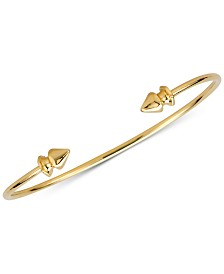 Sarah Chloe Polished Decorative Cuff Bangle Bracelet in 14K Gold-plated Sterling Silver