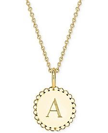 "Initial Medallion Pendant Necklace in 14k Gold-Plated Sterling Silver, 16"" + 2"" extender"