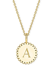 "Sarah Chloe Initial Medallion Pendant Necklace in 14k Gold-Plated Sterling Silver, 16"" + 2"" extender"