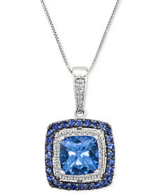 "Le Vian® Multi-Gemstone (2-5/8 ct. t.w.) & Diamond (1/10 ct. t.w.) 18"" Pendant Necklace in 14k White Gold"