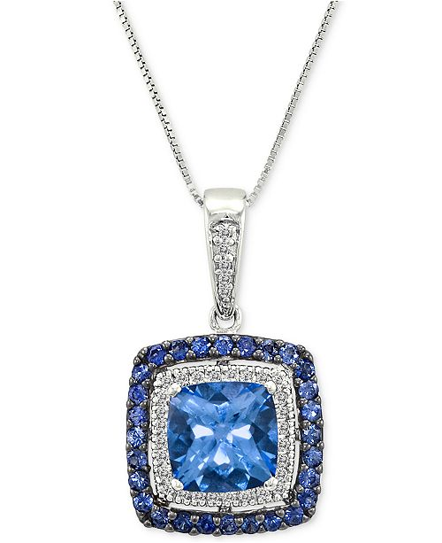 "Le Vian Multi-Gemstone (2-5/8 ct. t.w.) & Diamond (1/10 ct. t.w.) 18"" Pendant Necklace in 14k White Gold"