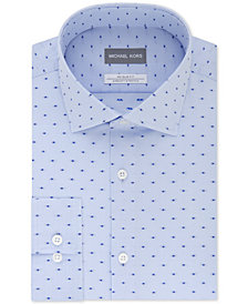 Michael Kors Men's Slim-Fit Non-Iron Airsoft Stretch Performance Blue Pattern Dress Shirt