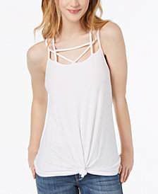 Ultra Flirt By Ikeddi Juniors' Strappy Twist-Front Tank Top