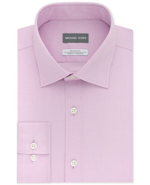 Michael Kors Men's Slim-Fit Non-Iron Airsoft Stretch Performance Solid Dress Shirt