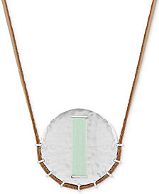 "Lucky Brand Silver-Tone Thread-Wrapped Disc Leather Cord 33"" Pendant Necklace"