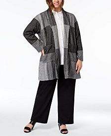 Eileen Fisher Plus Size Cotton Patchwork Jacket