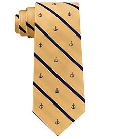 Club Room Men's Striped Anchor Silk Tie, Created for Macy's