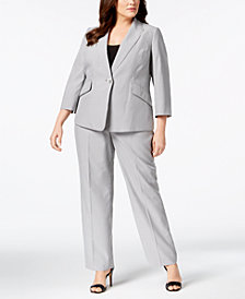 Le Suit Plus Size Pinstriped Pantsuit