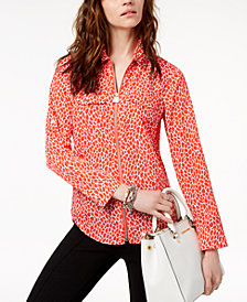 MICHAEL Michael Kors Printed Zip-Up Shirt, Regular & Petite