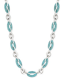 "Lauren Ralph Lauren Silver-Tone & Colored Link 17"" Collar Necklace"
