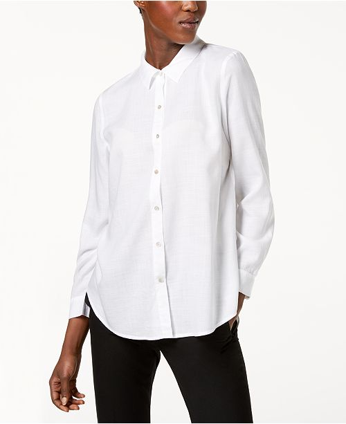 Fisher Regular Shirt Petite Sleeve Eileen Long White amp; Tencel® qwTdnCXA