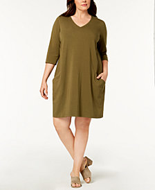 Eileen Fisher Plus Size Organic A-Line Dress