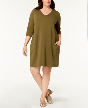 Eileen Fisher Plus Size Organic A-Line Dress 6454360