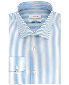 Calvin Klein Men's STEEL Classic/Regular Fit Non-Iron Stretch Performance Blue Stripe Dress Shirt