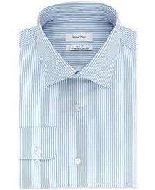 Calvin Klein Men's STEEL Classic/Regular Fit Non-Iron Stretch Performance Blue Stripe Dress Shirt