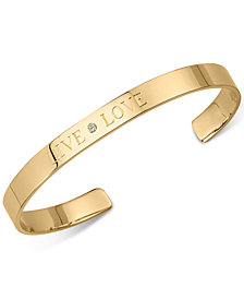 "Sarah Chloe Diamond Accent ""Live Love"" Cuff Bangle Bracelet in 14kt Gold Over Silver (also available in Sterling Silver)"