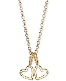 "Double Heart Charms Pendant Necklace, 16"" + 2"" extender"