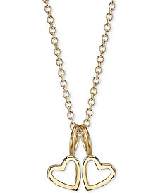 "Sarah Chloe Double Heart Charms Pendant Necklace, 16"" + 2"" extender"