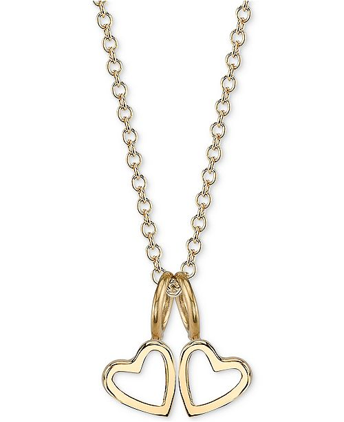 ae6508e7 Double Heart Charms Pendant Necklace, 16 + 2 extender
