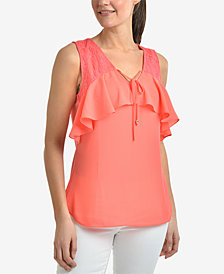 NY Collection Lace-Trim Ruffle Top