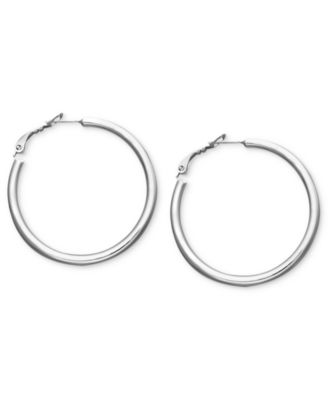 Medium Sterling Silver Tube Hoop Earrings, 1-1/2""
