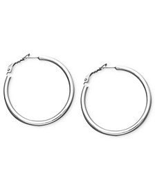 Medium Sterling Silver Tube Hoop Earrings, 1.5""