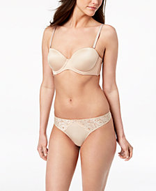I.N.C. Multiway Strapless Bra & Smooth Lace Thong, Created for Macy's