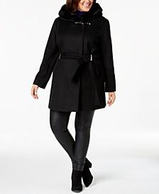 Plus Size Faux-Fur-Trim Belted Coat