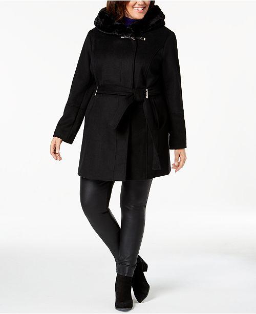 3f19a5f48a3 Calvin Klein Plus Size Faux-Fur-Trim Belted Coat   Reviews - Coats ...