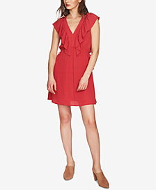 1.STATE V-Neck Ruffled Gauzy Dress