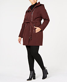 Calvin Klein Plus Size Asymmetrical Hooded Raincoat