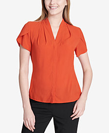 Calvin Klein Flutter-Sleeve V-Neck Top, Regular & Petite