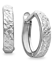 10k White Gold Earrings, Diamond Cut Hinged Hoop Earrings