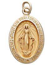 14k Gold Pendant, Oval Miraculous Medal Pendant