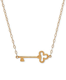 "Polished Key 17"" Pendant Necklace in 10k Gold"