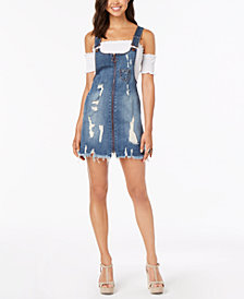Dollhouse Juniors' Ripped Zip-Front Denim Skirtall