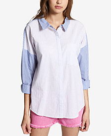 Sanctuary Mix It Up Cotton Colorblocked Shirt