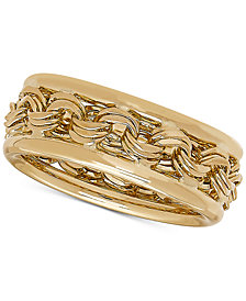 Rosetta Link Statement Ring in 14k Gold