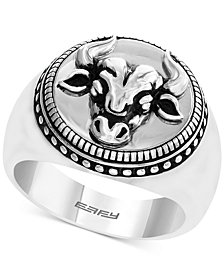 EFFY® Men's Textured Disc Bull Ring in Sterling Silver
