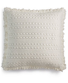 "Lacourte Sakai Handcrafted Embroidered 22"" Square Decorative Pillow, Created for Macy's"