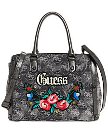 GUESS Badlands Signature Denim Satchel