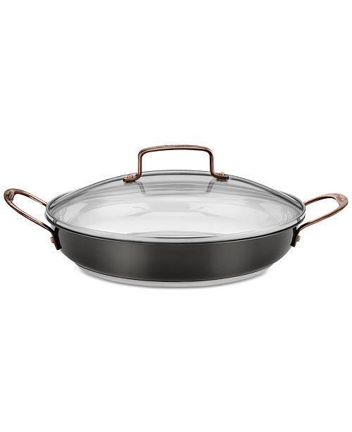 """Cuisinart Onyx Black & Rose Gold Stainless Steel 12"""" Everyday Pan & Lid"""