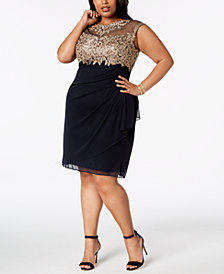 XSCAPE Plus Size Ruched Embellished Dress