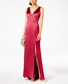 Adrianna Papell Satin Open-Back Bow Dress