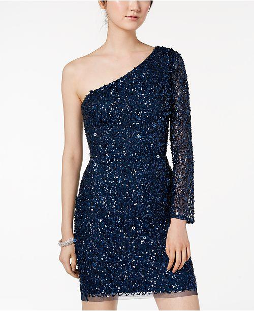 91c712d860756 Adrianna Papell One-Shoulder Sequined Mesh Dress - Dresses - Women - Macy's