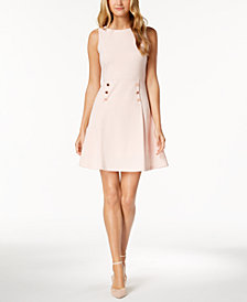 Ivanka Trump Button-Waist A-Line Dress